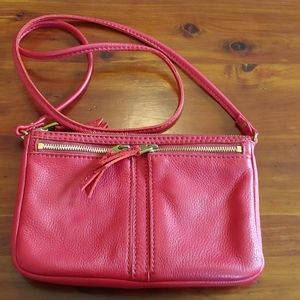 Red leather Fossil bag